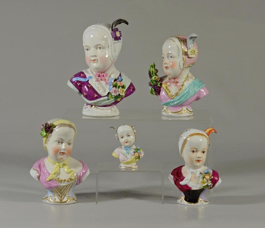 (5) assorted Continental porcelain busts