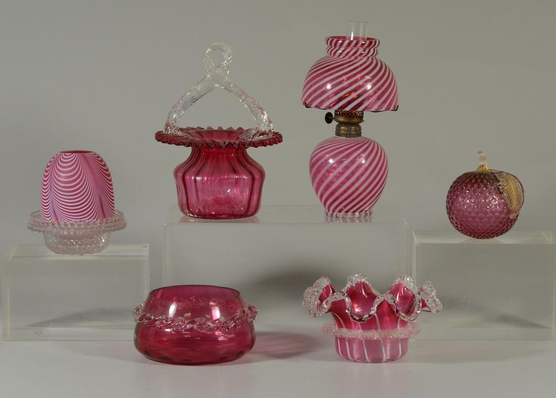 (6) assorted pieces of cranberry glass