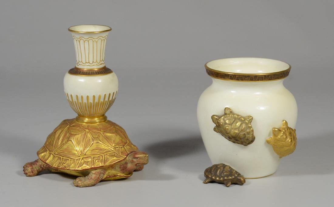 (2) pcs Royal Worcester porcelain with turtles