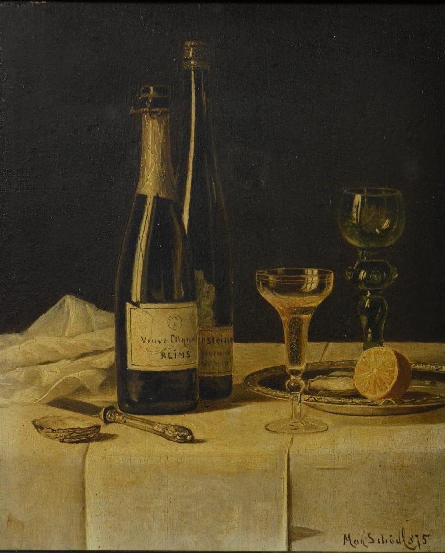 Max Schodl, still life painting with wine bottles