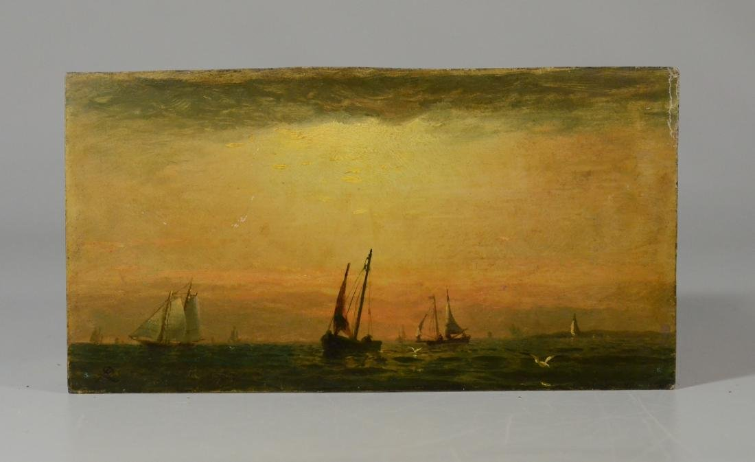 Antique miniature seascape painting with boats