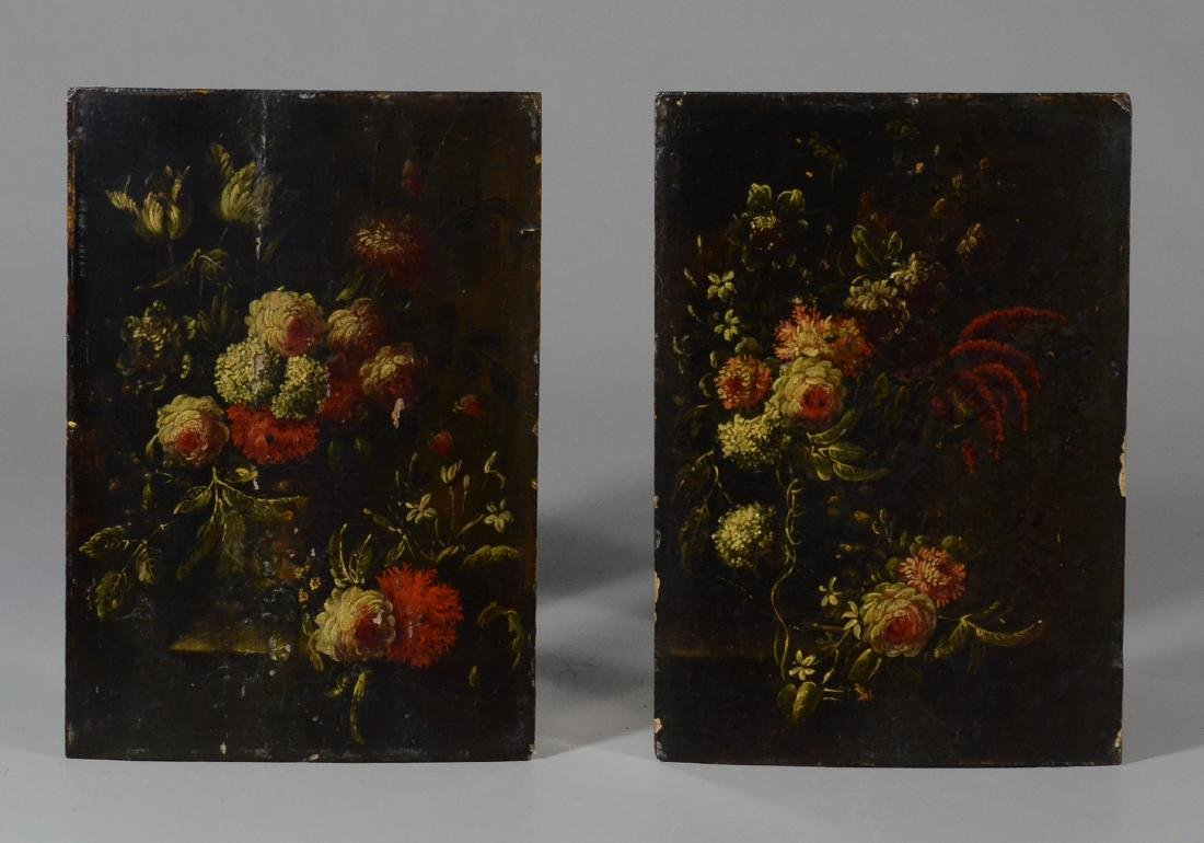 Pair of antique miniature still life paintings