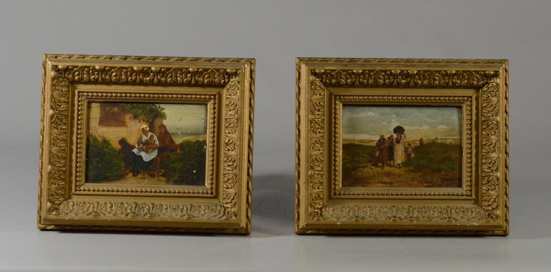 Pair of 19th C Continental paintings over prints