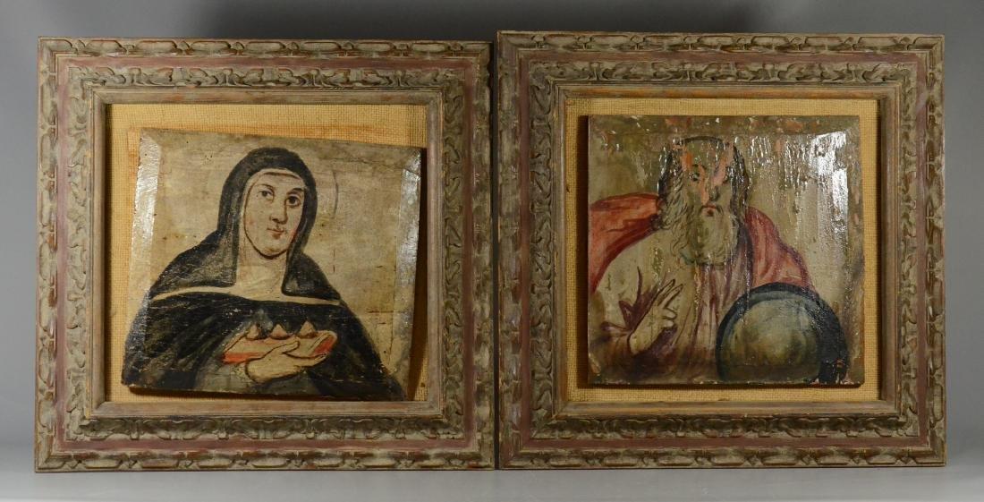 Pair of Renaissance style paintings of saint & scholar