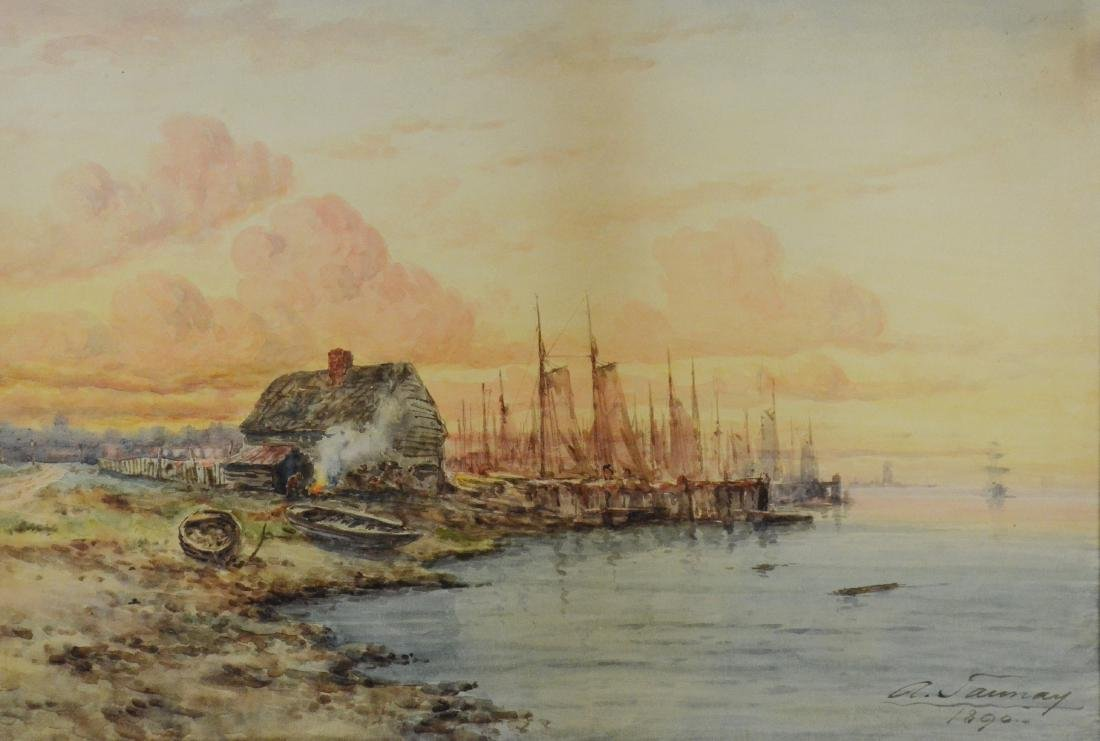 A Taunay, watercolor painting of harbor scene
