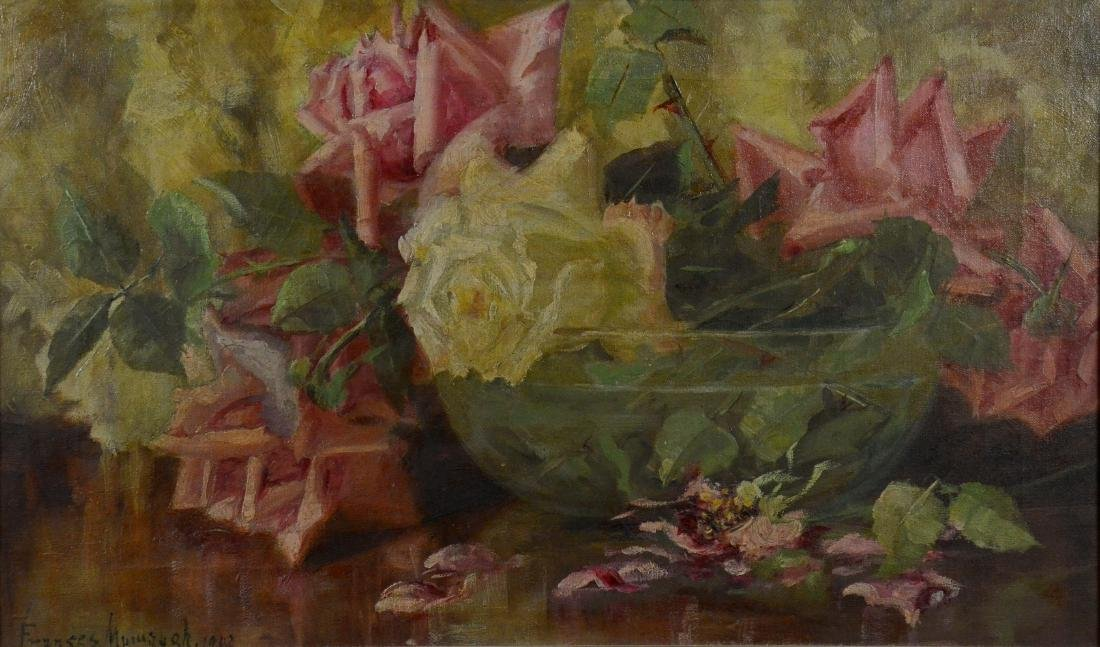 Frances Mumaugh, oil on canvas still life of roses