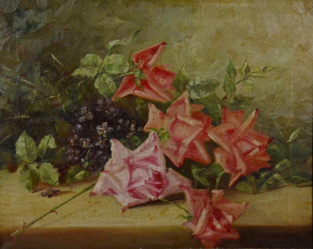 Kathryn Cirko Riley, oil on canvas still life of roses