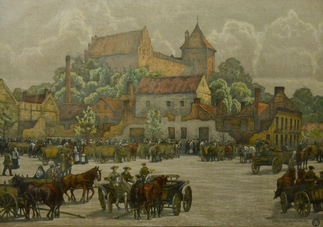 Ernst Muller Bernburg, chromolithograph town square
