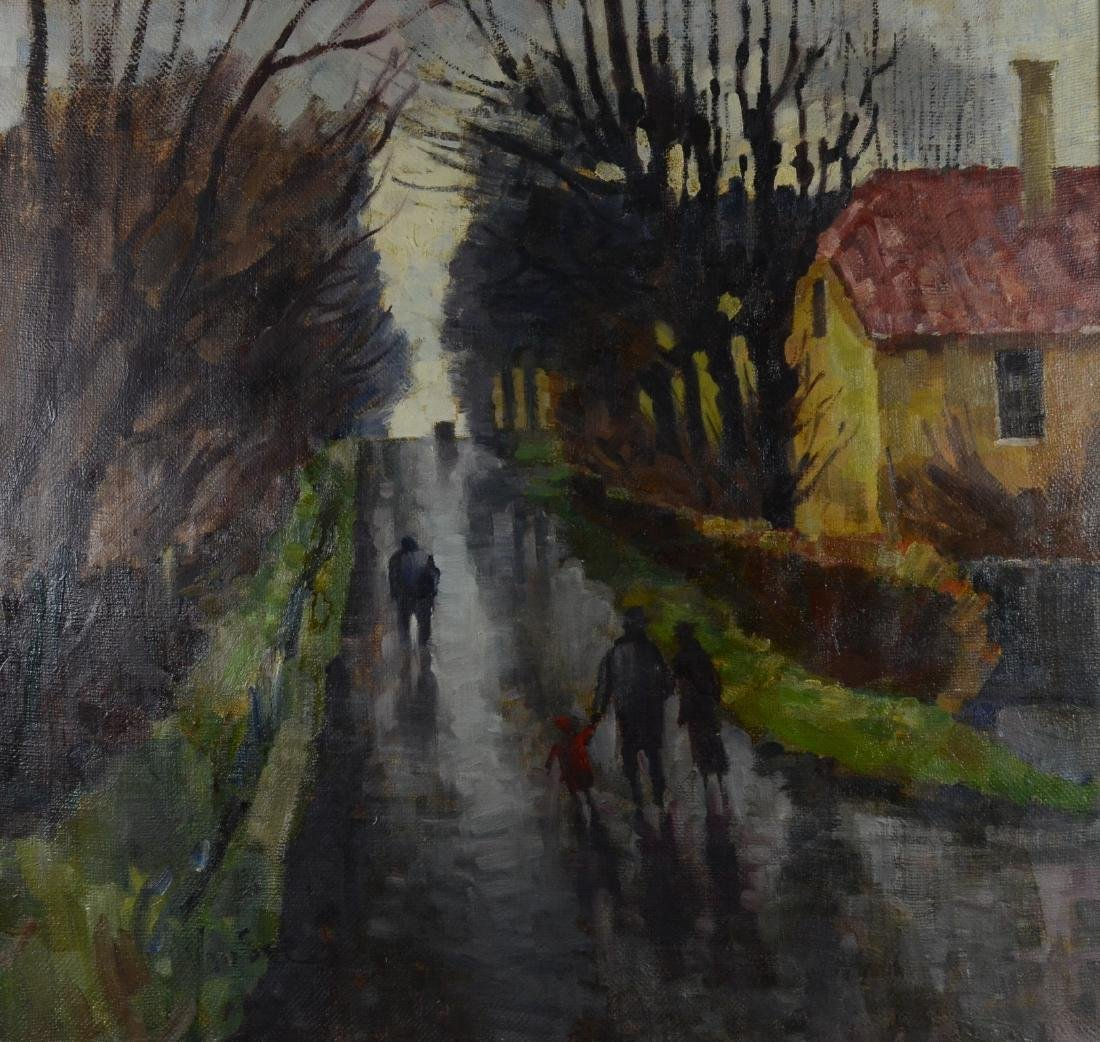 Mogens Vantore, oil on canvas village scene