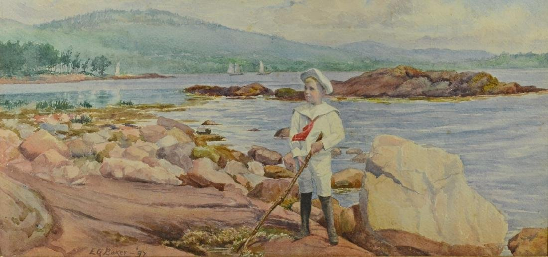 Elizabeth G Baker, watercolor young boy coastal scene