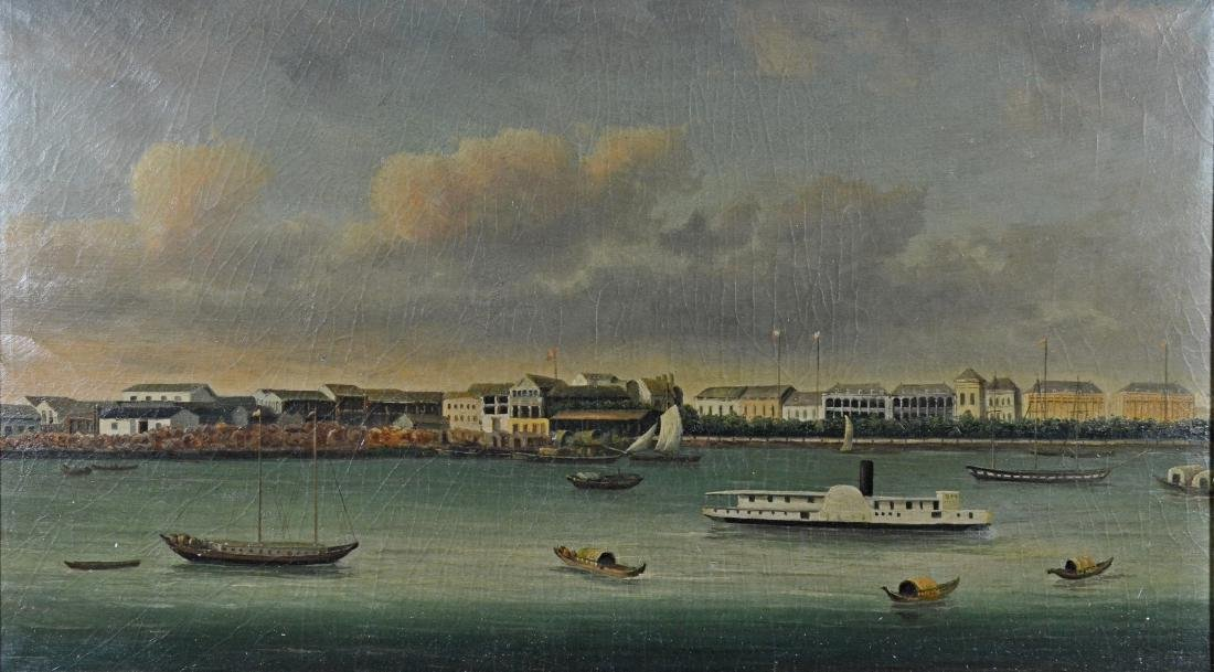 Reproduction painting of a riverboat scene