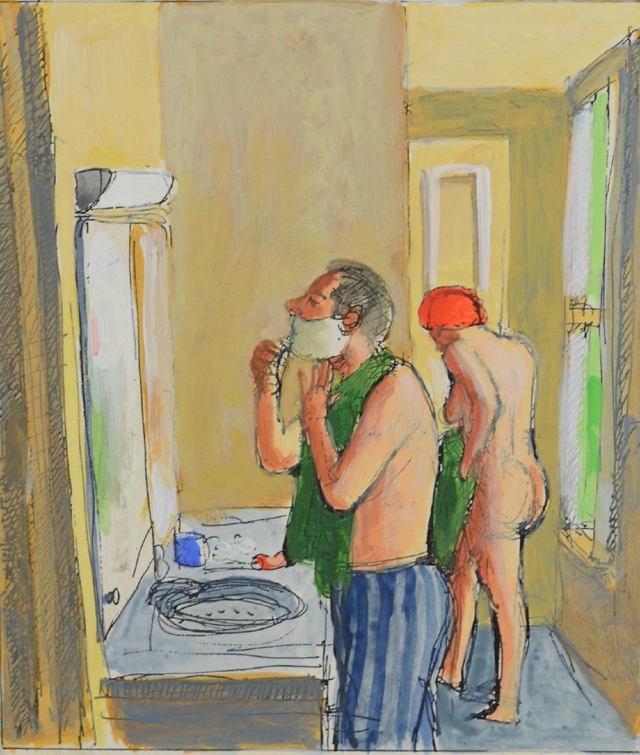 John Mart Opie, mixed media on paper Morning Shave