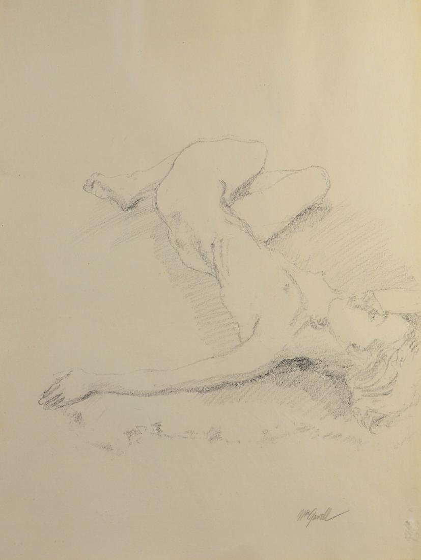 James McGarrell, graphite on paper drawing female nude