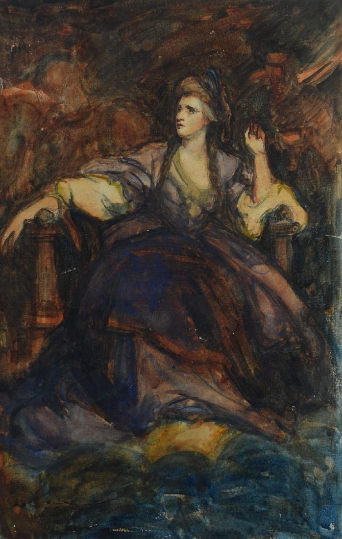 Watercolor painting of a seated lady, unsigned