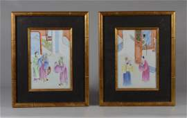 Pr Chinese hand-painted porcelain plaques