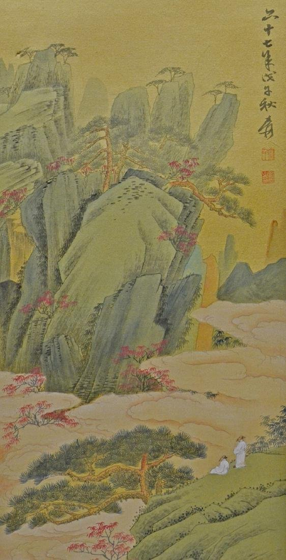 Chinese scroll landscape painting, watercolor & gilt