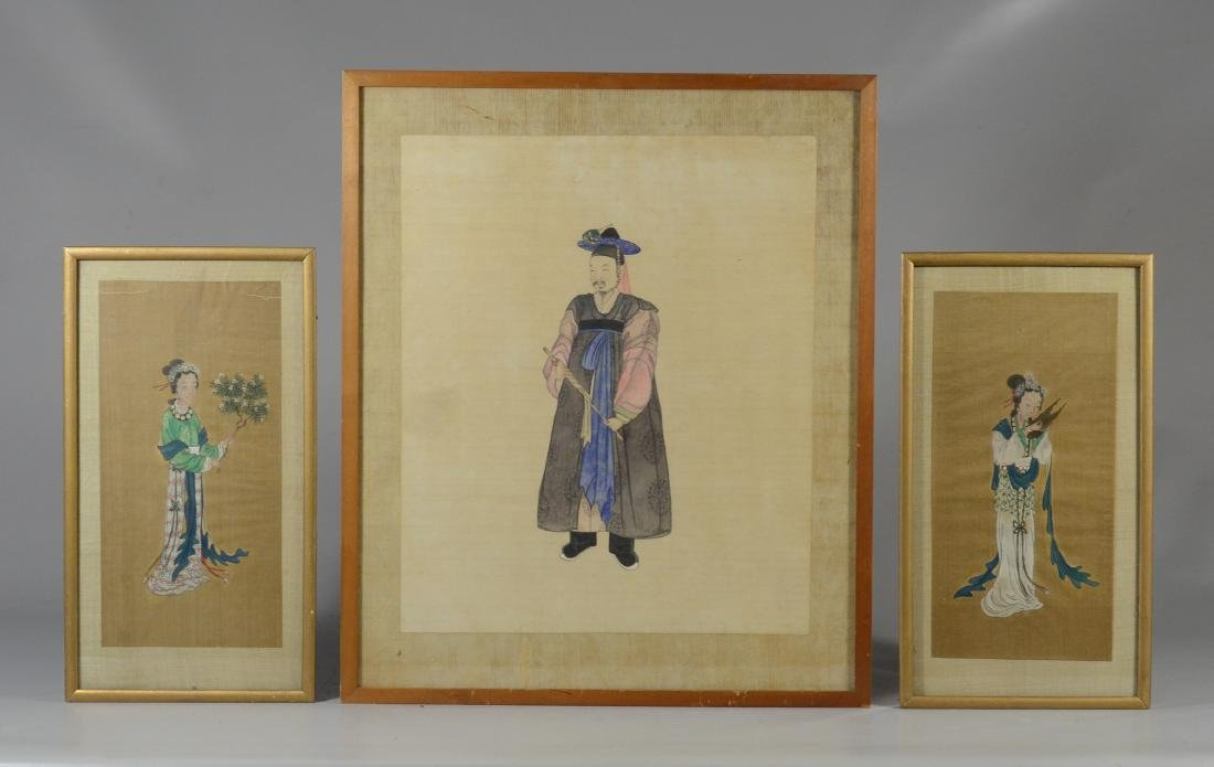 (3) Chinese paintings, watercolor on paper & silk