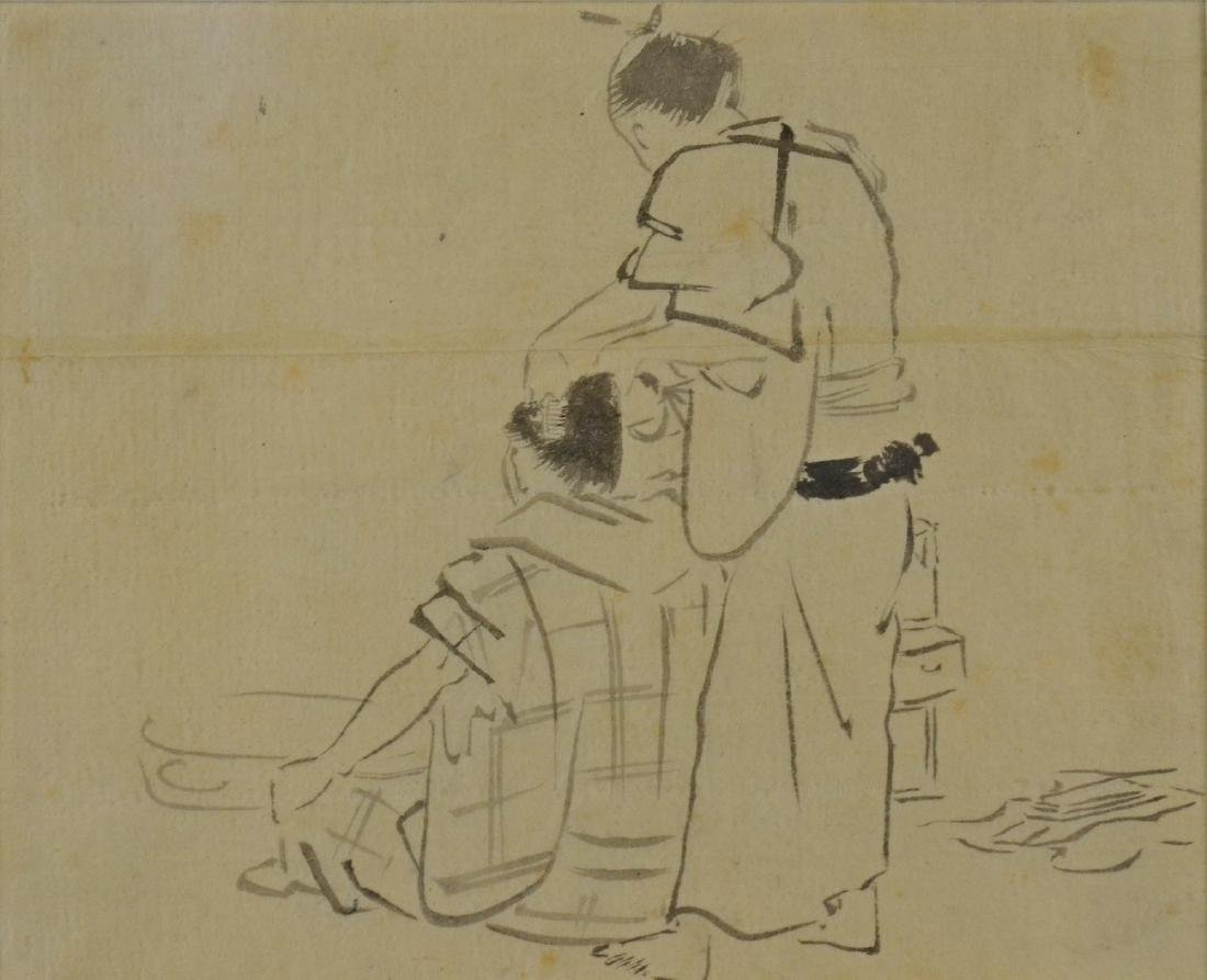 Japanese ink painting of two figures