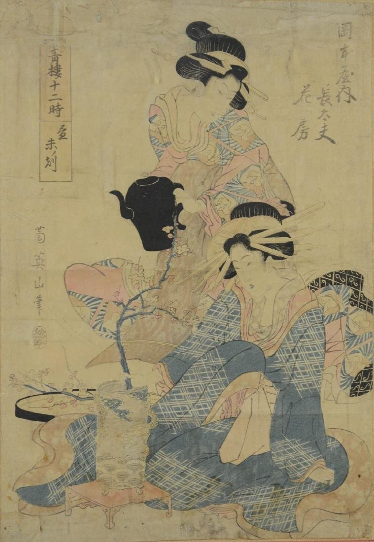 Japanese woodblock print of two women