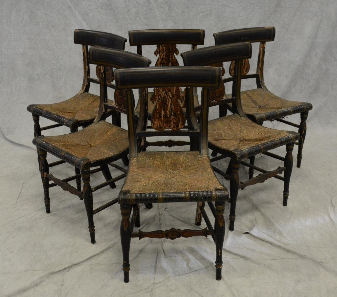 6 Lyre back paint decorated side chairs, ebonized pa