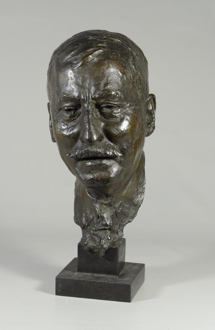 "Bronze bust of a man, signed ""Long"""