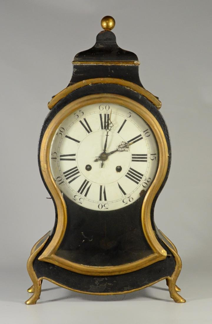 French Provincial mantle clock, gilt and black paint