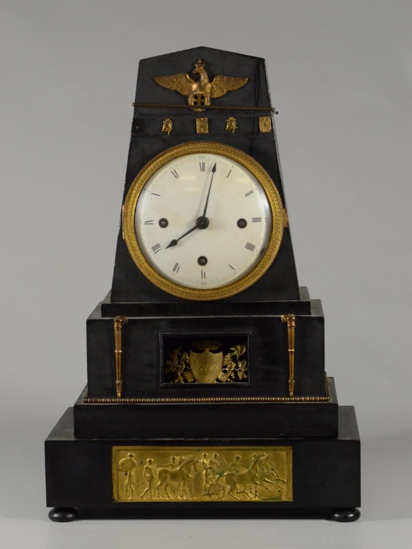Black painted wood German mantle clock