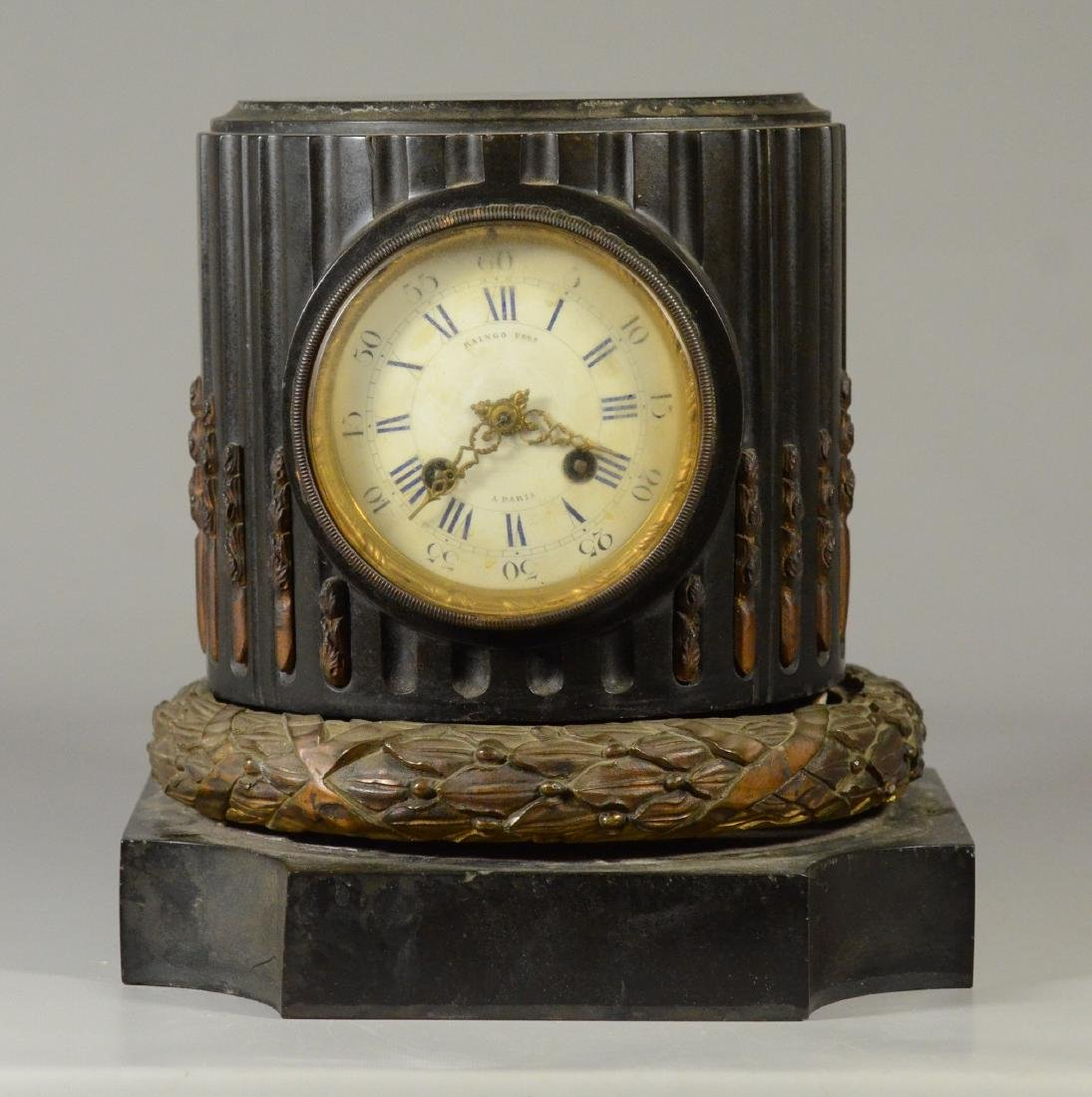 Bronze mounted black marble French shelf clock
