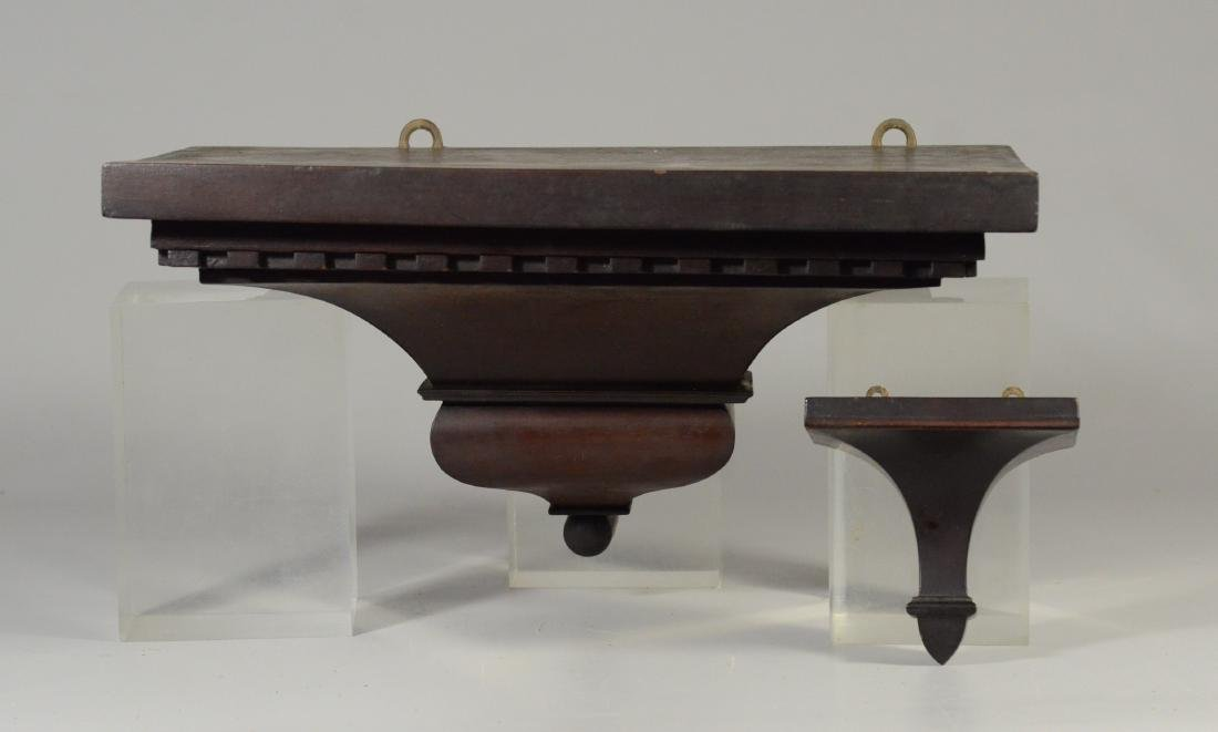 (2) mahogany clock shelves