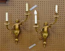 Pr figural bronze French style double arm wall sconces