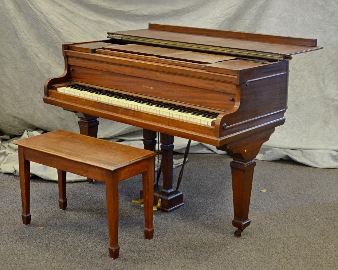 "Schroeder Mahogany Baby Grand Piano, 62"" long case,"