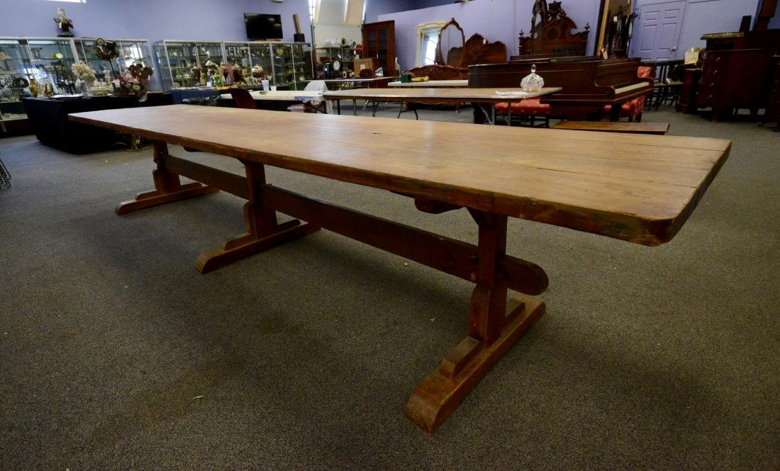 French pine trestle base great table, bench made in