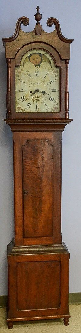 PA Federal walnut tall case clock, Joseph Badman c 1815