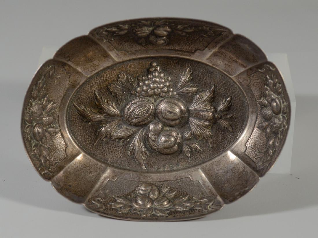 Sterling silver repousse fruit bowl; Dutch hallmarks;