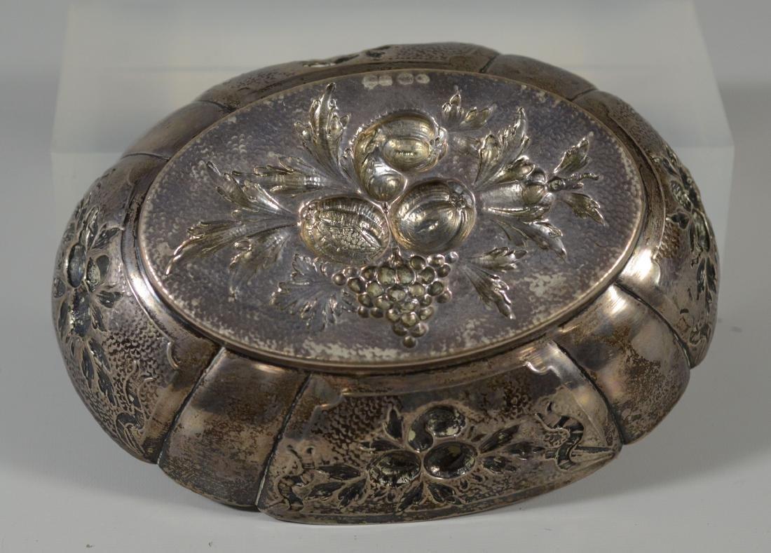 Sterling silver repousse fruit bowl; Dutch hallmarks; - 2