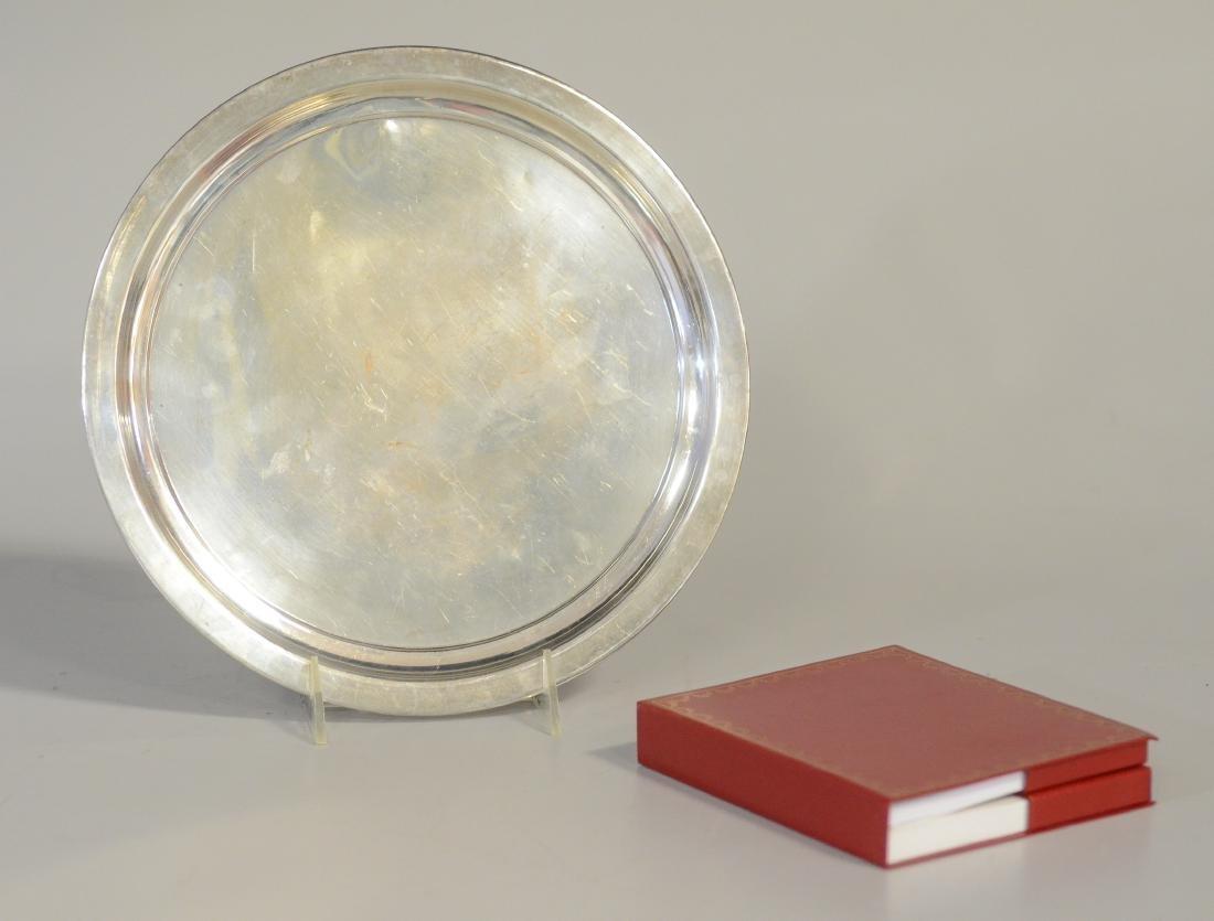 "2 Pcs Cartier, sterling dish, 10-1/2"" d, watch"