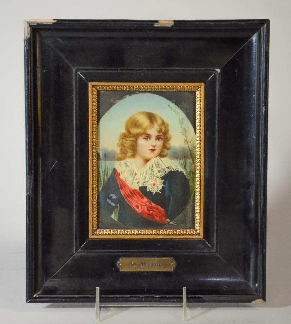 Antique porcelain plaque portrait of Napoleon's son