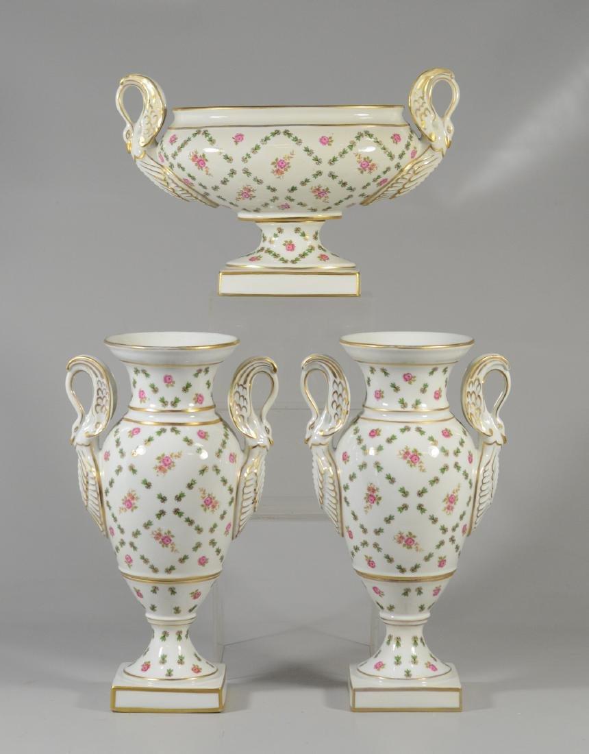 (3) Piece Porcelain Garniture Set with swan handles;
