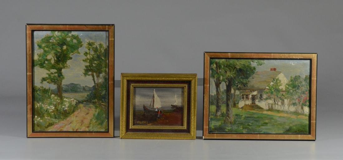 (3) Miniature paintings, oil on board