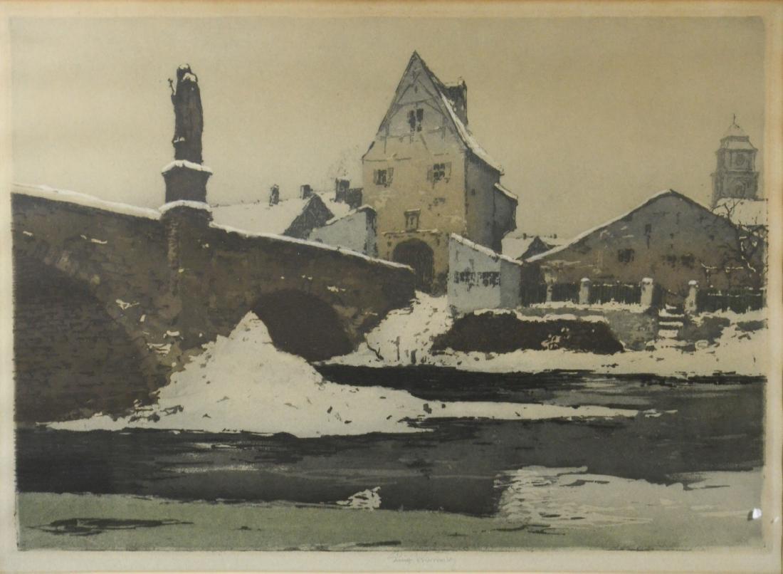 Luigi Kasimir color etching of European village
