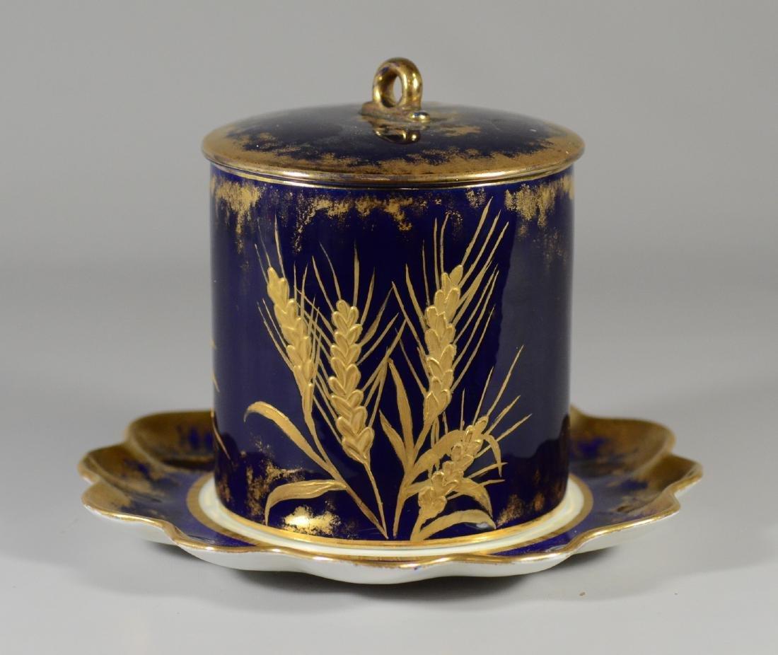 Cobalt blue and gilt decorated porcelain biscuit jar