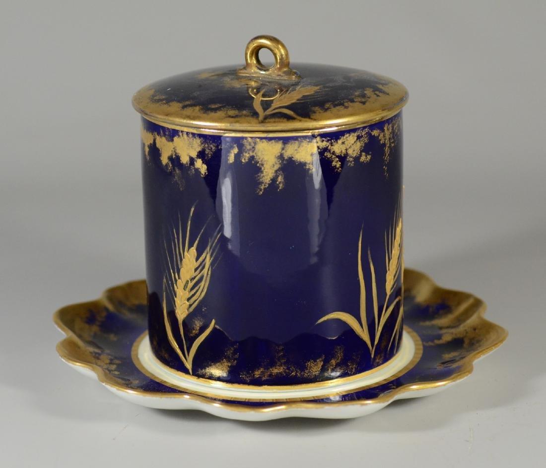 Cobalt blue and gilt decorated porcelain biscuit jar - 2