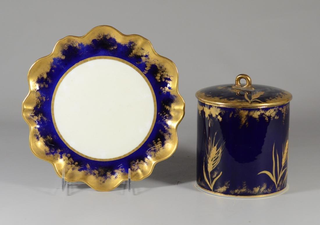 Cobalt blue and gilt decorated porcelain biscuit jar - 3