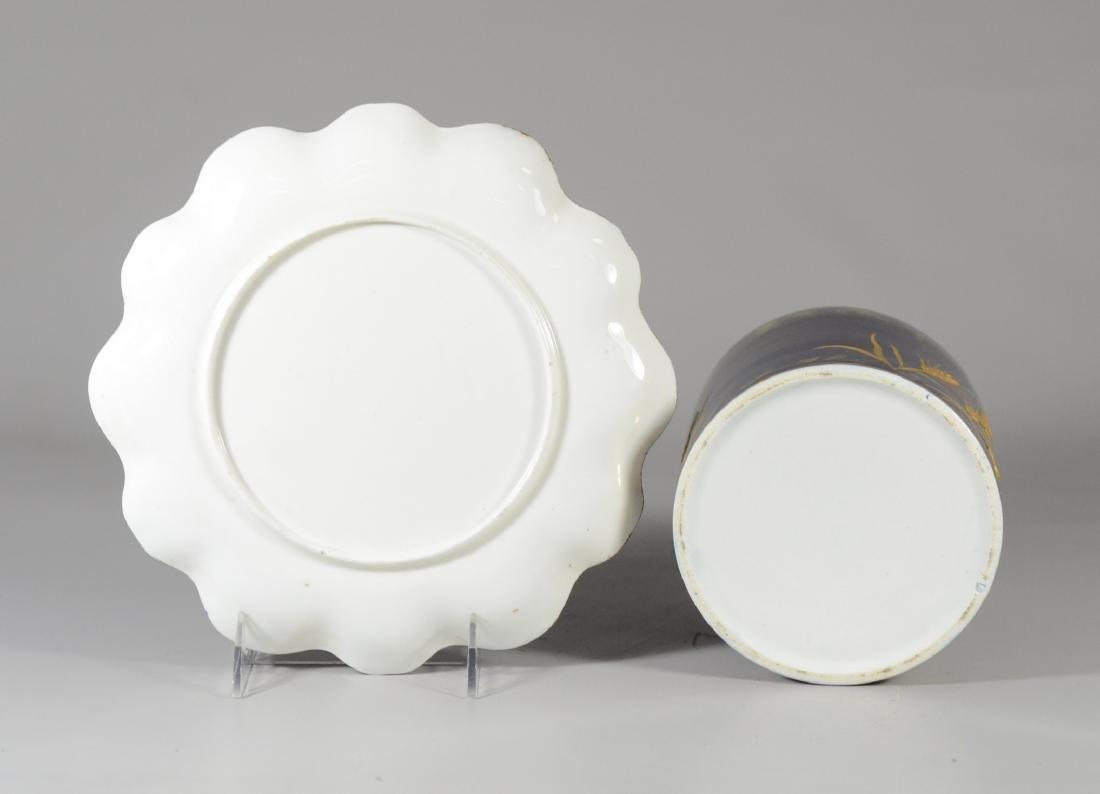 Cobalt blue and gilt decorated porcelain biscuit jar - 4