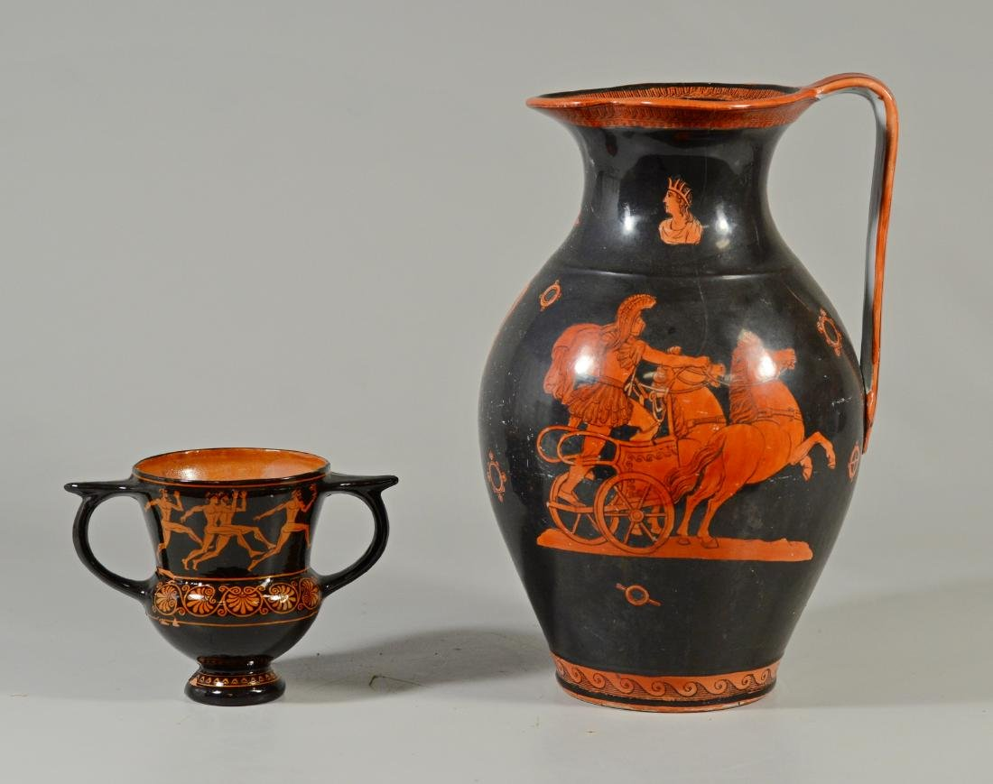 (2) Grecian Terracotta pieces; one pitcher, one two-