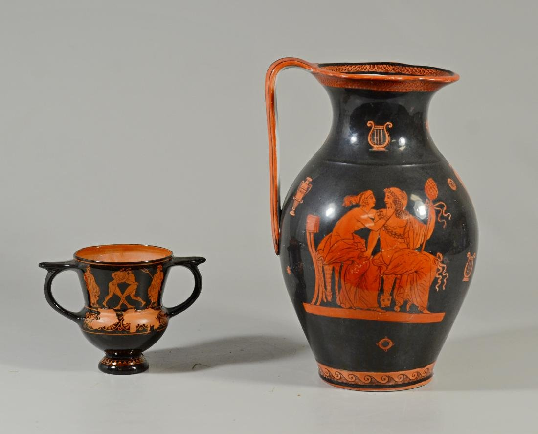 (2) Grecian Terracotta pieces; one pitcher, one two- - 2