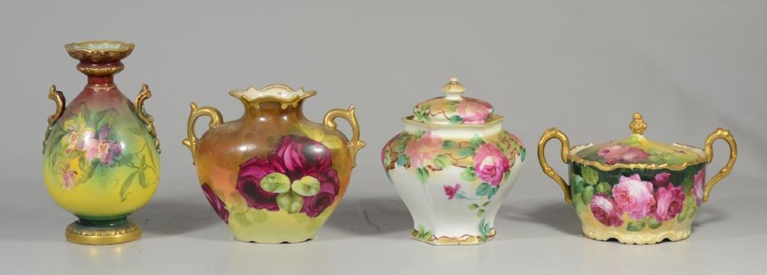 (4) Pcs hand painted porcelain