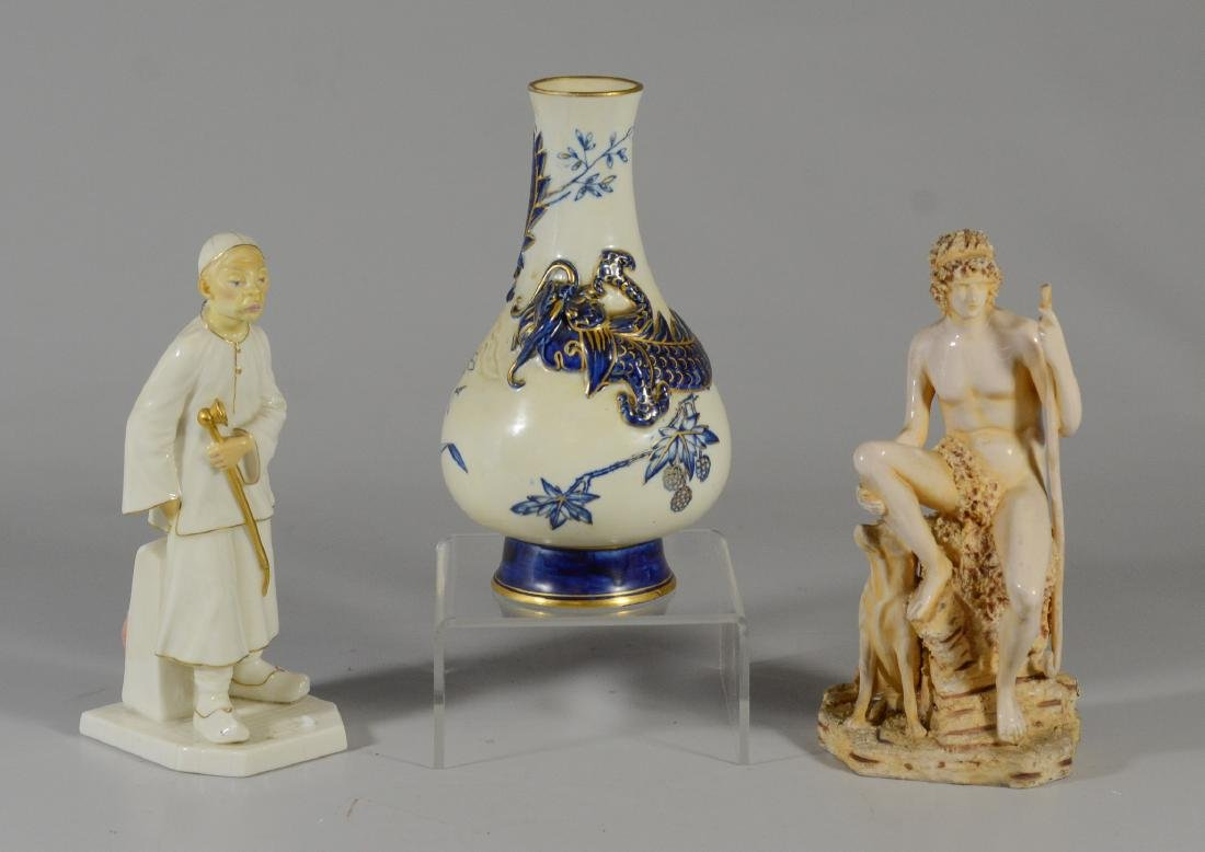 (3) Royal Worcester porcelain items, one figure of a