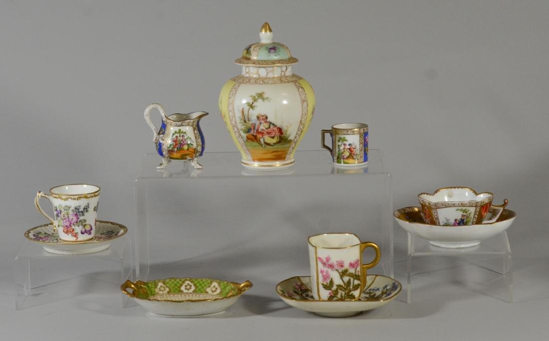 (7) pcs Dresden, Miessen, Royal Worcester porcelain