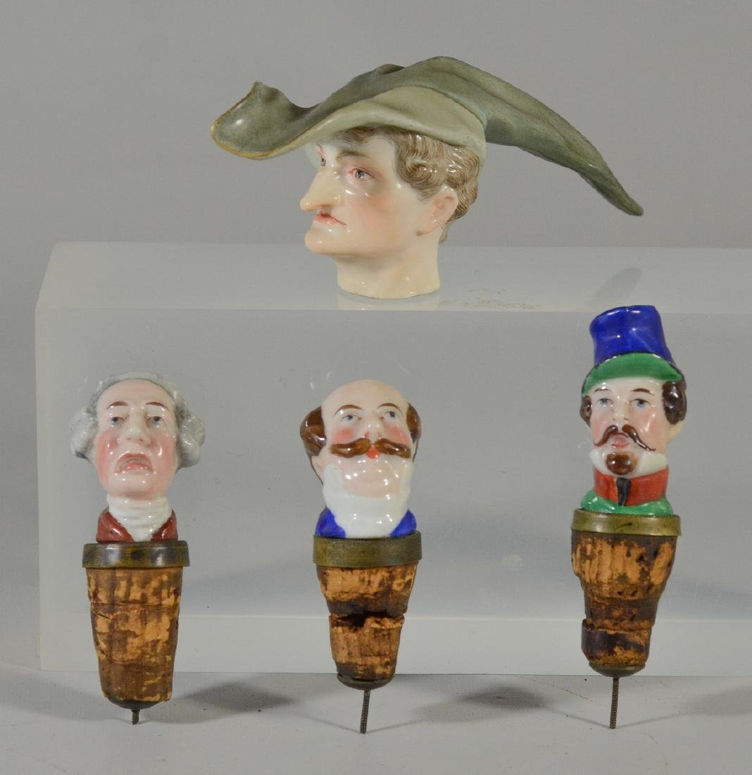 (4) pcs of Meissen and English porcelain stoppers